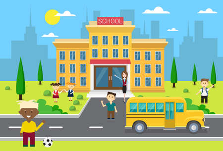 schoolchildren: Schoolchildren Group Near School Building Exterior Yellow Bus Flat Vector Illustration