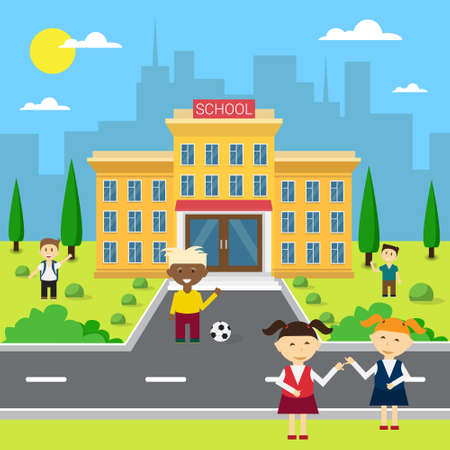 Schoolchildren Group Near School Building Exterior Flat Vector Illustration