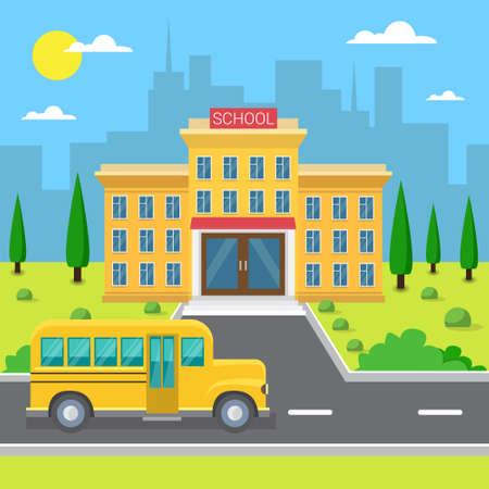 School Building Exterior Yellow Bus City View Flat Vector Illustration Illustration