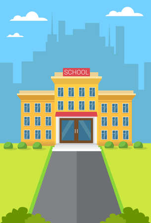 secondary colors: School Building Exterior City View Flat Vector Illustration