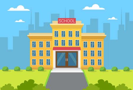School Building Exterior City View Flat Vector Illustration