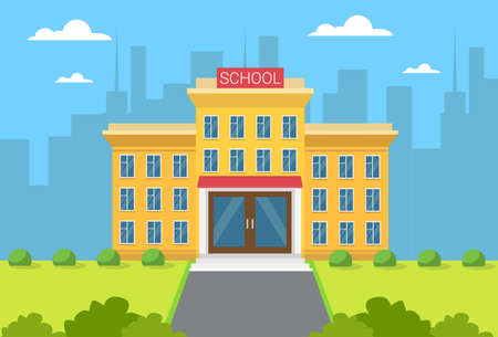 School Building Exterior City View Flat Vector Illustration