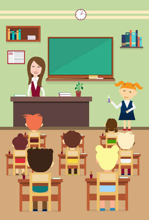 School Lesson Pupils And Teacher In Class Room Interior Flat Vector Illustration