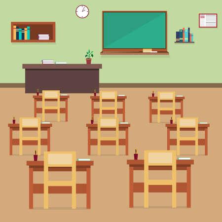 class room: Empty School Class Room Interior Flat Vector Illustration Illustration