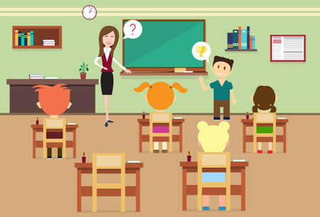 school class: School Lesson Pupils And Teacher In Class Room Interior Flat Vector Illustration