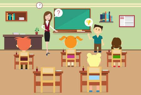 pupils: School Lesson Pupils And Teacher In Class Room Interior Flat Vector Illustration