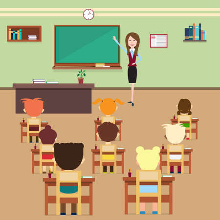 class room: School Lesson Pupils And Teacher In Class Room Interior Flat Vector Illustration