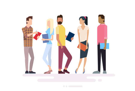 character of people: Student Group People Holding Books Education Flat Vector Illustration