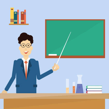 clack: Professor Point Pointer To Green School Clack Board Flat Vector Illustration