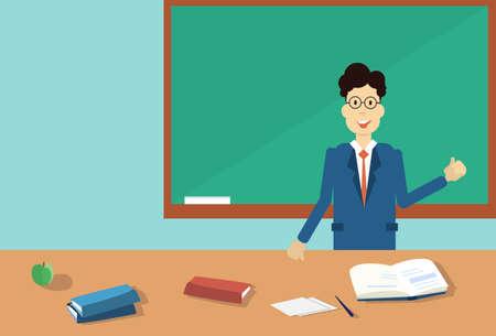clack: Professor Point Hand To Green School Clack Board Flat Vector Illustration