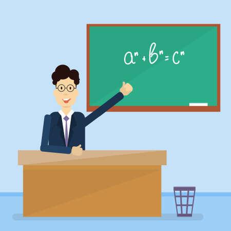 Professor Point Hand To Green School Clack Board Flat Vector Illustration