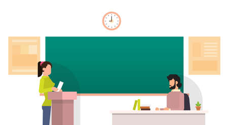 tribune: Girl Student Answer Over Tribune Chalkboard University Education Flat Vector Illustration
