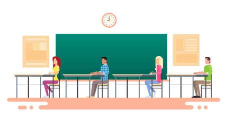 Student Group Sit Desk University Class Flat Vector Illustration