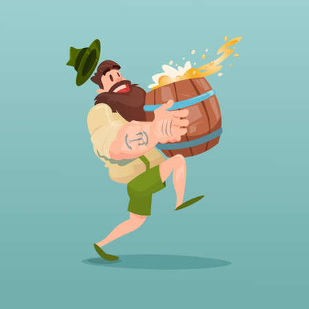 patric day: Bearded Man Carry Beer Barrel Flat Vector Illustration