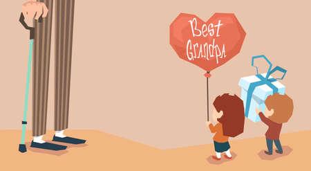 grandchildren: Small Boy Girl Give Present Balloon Grandfather Long Legs Grandparents Day Holiday Grandchildren Greeting Vector Illustration