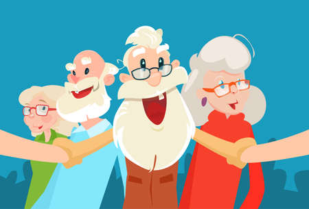 Senior People Group Grandparents Selfie Photo Flat Vector Illustration