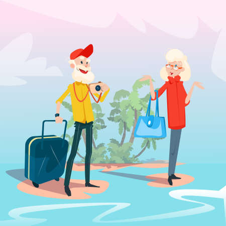 Senior Couple Summer Tropical Island Seaside Vacation Flat Vector Illustration