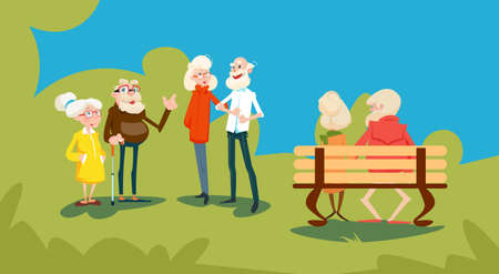 family discussion: Senior People Group Friends Outdoors Park Meeting Communication Flat Vector Illustration Illustration