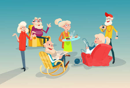 Senior People Group Friends Meeting Communication Flat Vector Illustration
