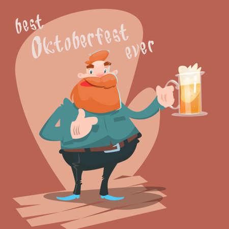 patric banner: Cartoon Man Hold Beer Glass Mug Oktoberfest Festival Banner Flat Vector Illustration Illustration