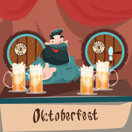 patric: Cartoon Man At Bar Beer Glass Mug Barrel Oktoberfest Festival Banner Flat Vector Illustration