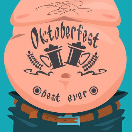 Belly Tattoo Oktoberfest Festival Banner Flat Vector Illustration