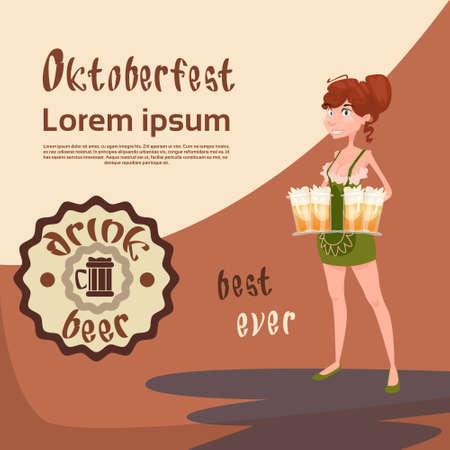 Oktoberfest Festival Girl Waitress Hold Beer Mug Glasses Vector Illustration