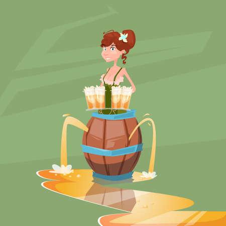 beerfest: Girl Waitress Hold Beer Glasses Wooden Barrel Oktoberfest Festival Banner Flat Vector Illustration Illustration