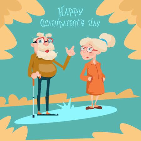 older couple: Senior Couple Grandparents Day Greeting Card Flat Vector Illustration