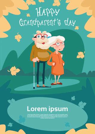 happy older couple: Senior Couple Grandparents Day Greeting Card Flat Vector Illustration