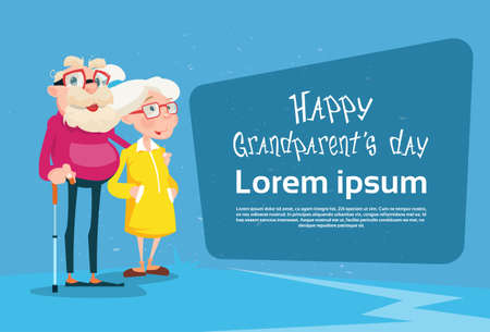 Senior Couple Grandparents Day Greeting Card Flat Vector Illustration