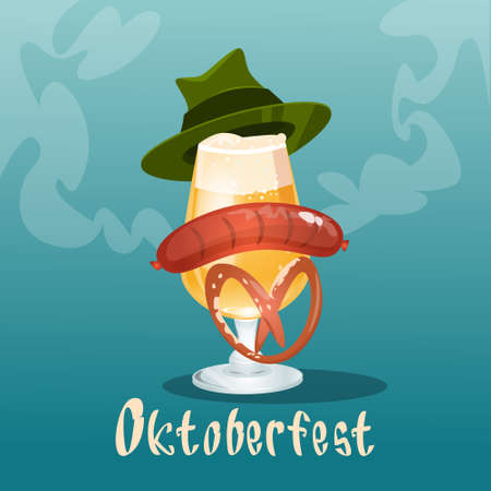 Beer Glass With Green Hat Sausage Pretzel Oktoberfest Festival Banner Flat Vector Illustration