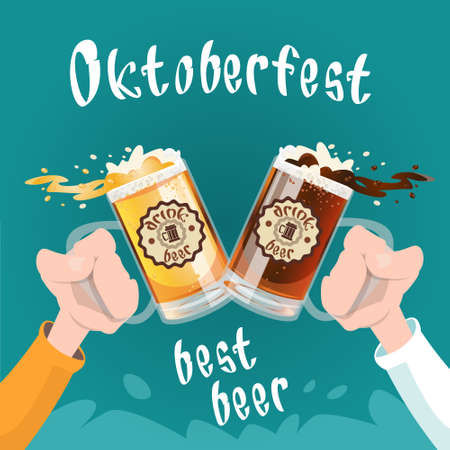 Hand Hold Beer Glass Mug Oktoberfest Festival Banner Flat Vector Illustration