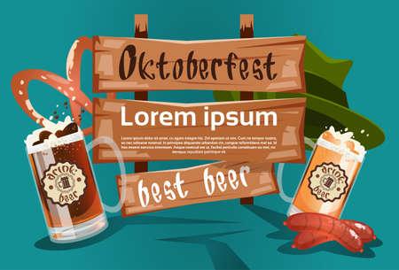 bbq barrel: Beer Glass With Green Hat Sausage Pretzel Oktoberfest Festival Banner Flat Vector Illustration
