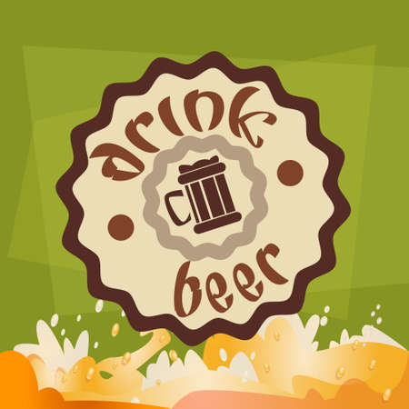 patric: Drink Beer Label Oktoberfest Festival Banner Flat Vector Illustration Illustration