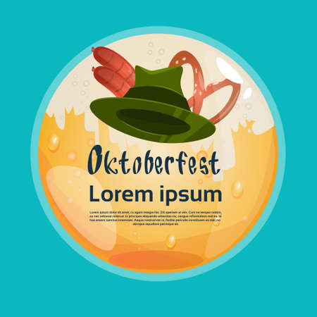 patric: Green Patric Hat With Sausage Pretzel Oktoberfest Festival Banner Flat Vector Illustration Illustration