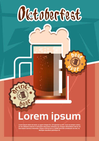 patric: Beer Glass Mug Oktoberfest Festival Banner Flat Vector Illustration Illustration