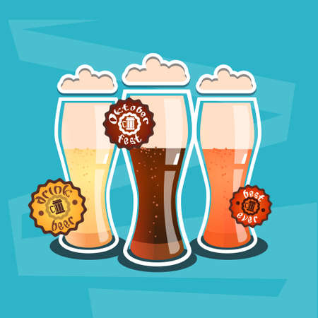 Beer Glass Mug Oktoberfest Festival Banner Flat Vector Illustration Illustration
