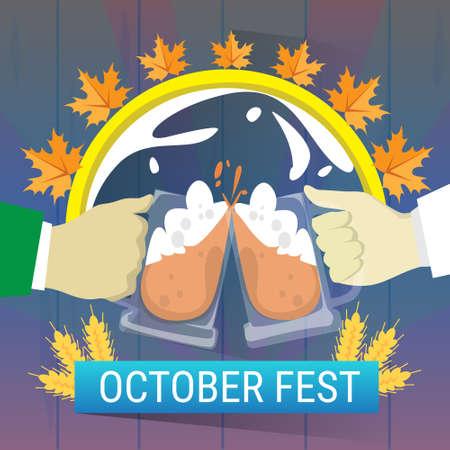 Hand Hold Beer Glass Mug Oktoberfest Festival Banner Flat Vector Illustration