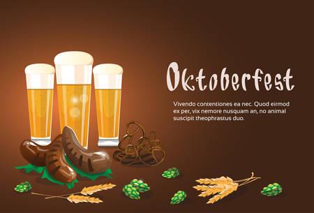bbq barrel: Beer Glass Mug With Sausage Pretzel Oktoberfest Festival Banner Flat Vector Illustration
