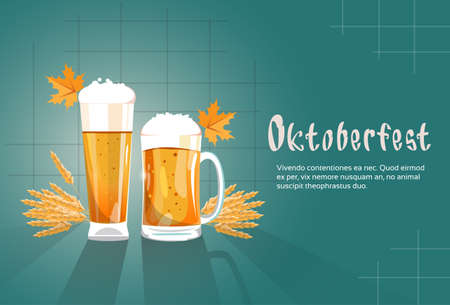 patric day: Beer Glass Mug Oktoberfest Festival Banner Flat Vector Illustration Illustration