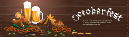 wooden texture: Beer Glass Mug With Sausage Pretzel Oktoberfest Festival Banner Flat Vector Illustration