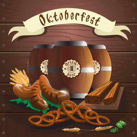 Beer Barrel With Sausage Pretzel Oktoberfest Festival Banner Flat Vector Illustration