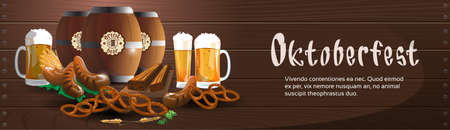 bbq barrel: Beer Glass Mug Barrel With Sausage Pretzel Oktoberfest Festival Banner Flat Vector Illustration Illustration