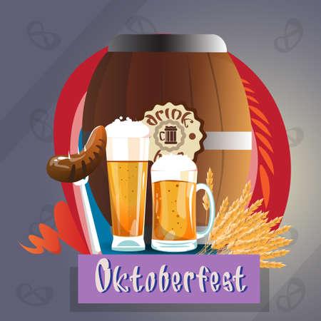 bbq barrel: Beer Glass Mug With Sausage Barrel Oktoberfest Festival Banner Flat Vector Illustration