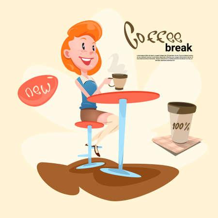 Woman In Cafe Coffee Break Flat Vector Illustration Illustration