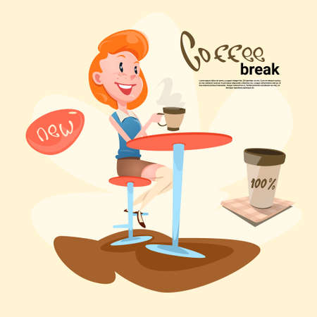 break in: Woman In Cafe Coffee Break Flat Vector Illustration Illustration