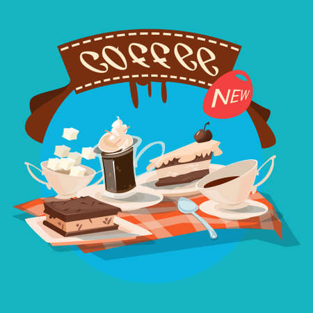 Coffee Cup With Chocolate Cakes Cafe Flat Vector Illustration