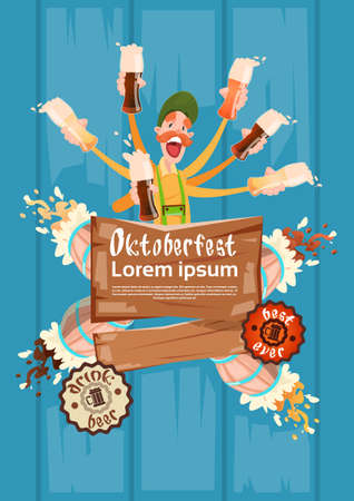 patric banner: Bearded Man Hold Beer Glasses Oktoberfest Festival Banner Flat Vector Illustration