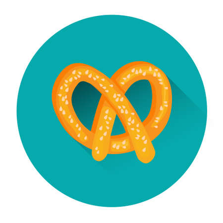 Pretzel Traditional Food Oktoberfest Festival Icon Flat Vector Illustration Illustration